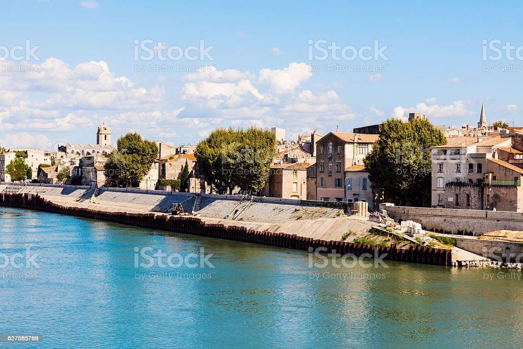 Arles panorama from the river stock photo