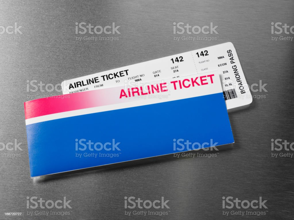 Arline Ticket on Stainless Steel stock photo