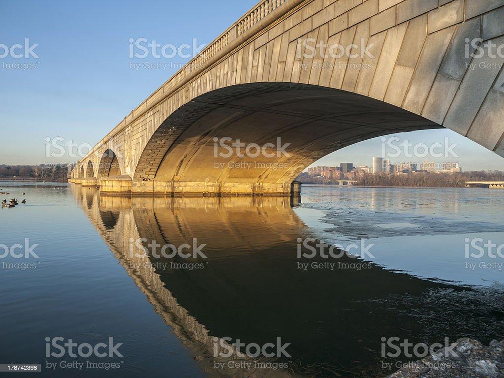 Arlington Bridge and Potomac River stock photo