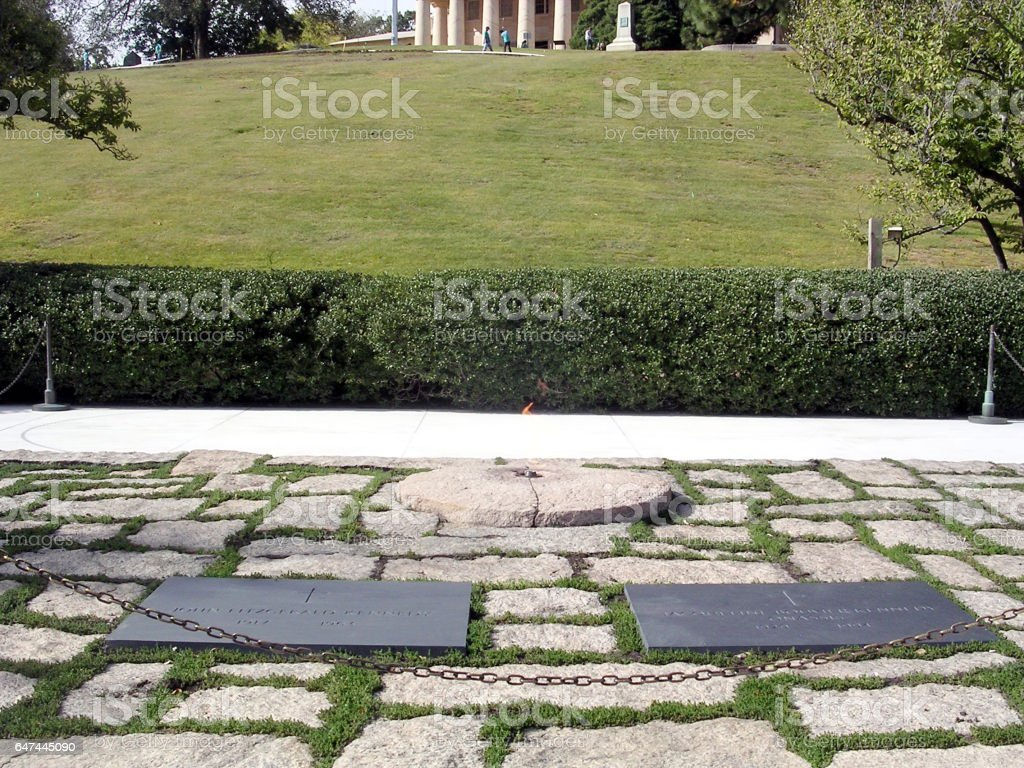 Arlington Cemetery John and Jacqueline Kennedy Grave October 2004 stock photo