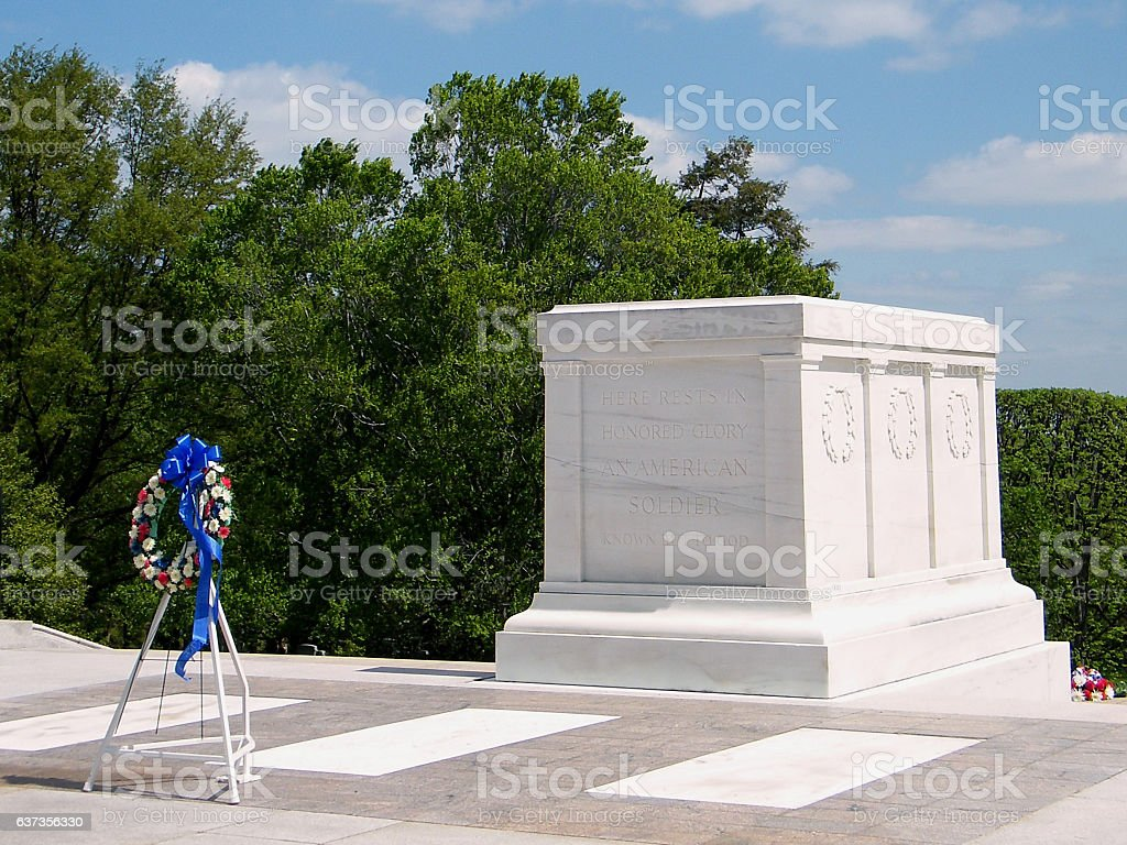 Arlington Cemetery Tomb of the Unknown Soldier & garland 2010 stock photo