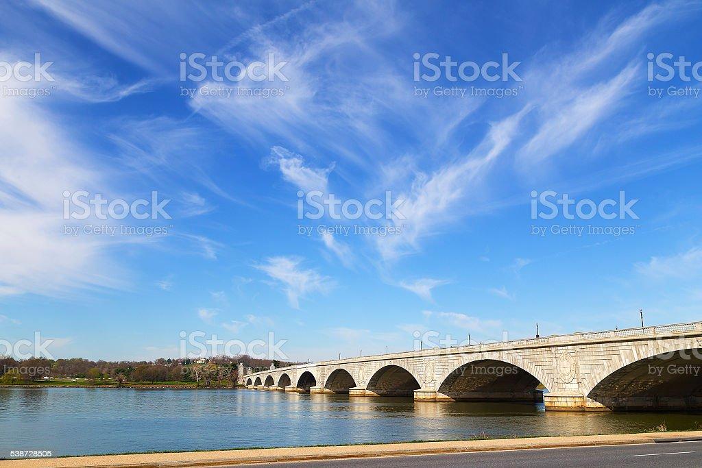 Arlington Memorial Bridge across Potomac River stock photo