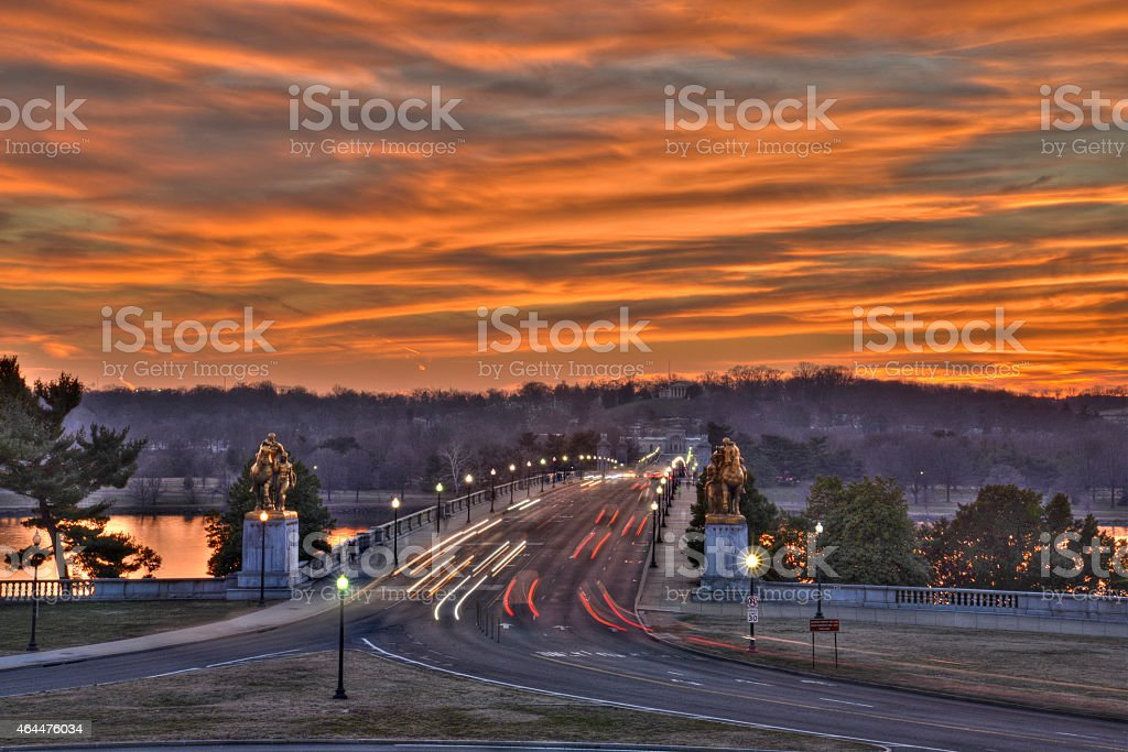 Arlington Memorial Bridge at sunset stock photo