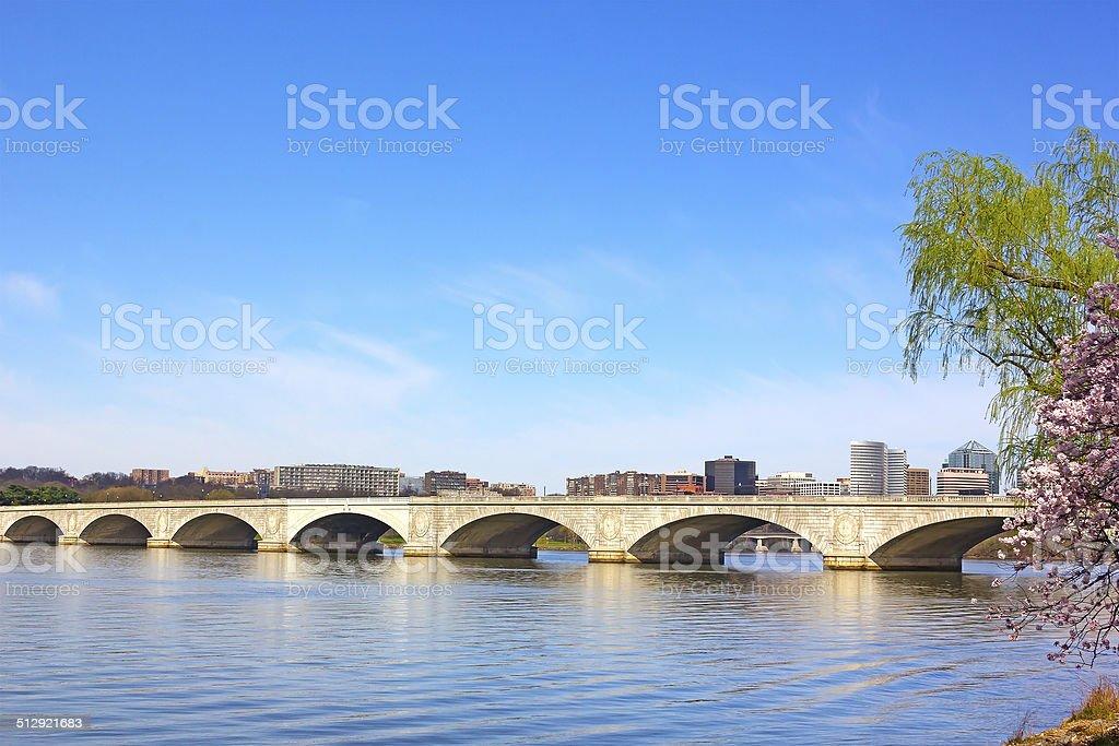 Arlington memorial Bridge during cherry blossom in Washington DC. stock photo