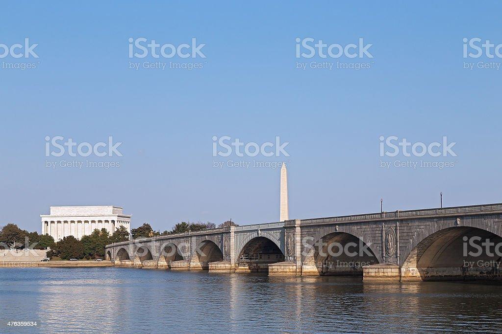 Arlington Memorial Bridge, Lincoln Memorial and Washington Monument. stock photo