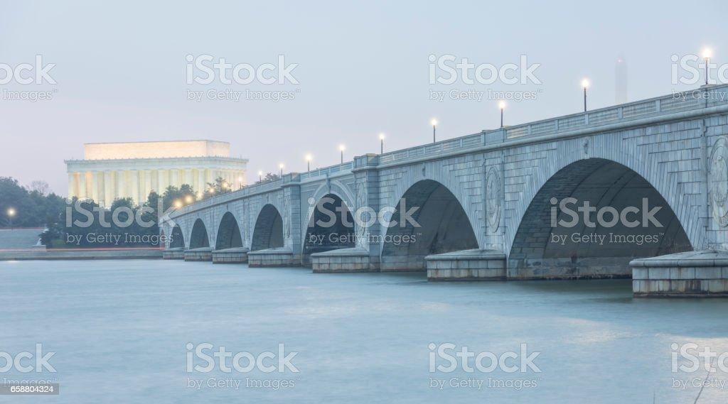 Arlington Memorial Bridge to Lincoln Memorial stock photo