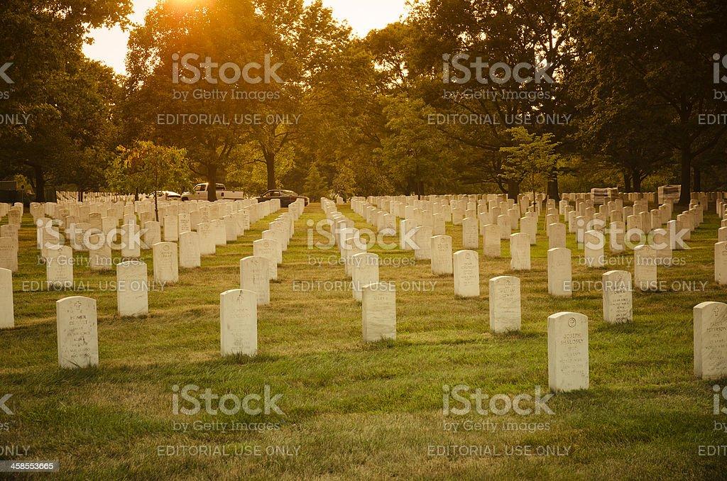 Arlington National Cemetary at dusk stock photo