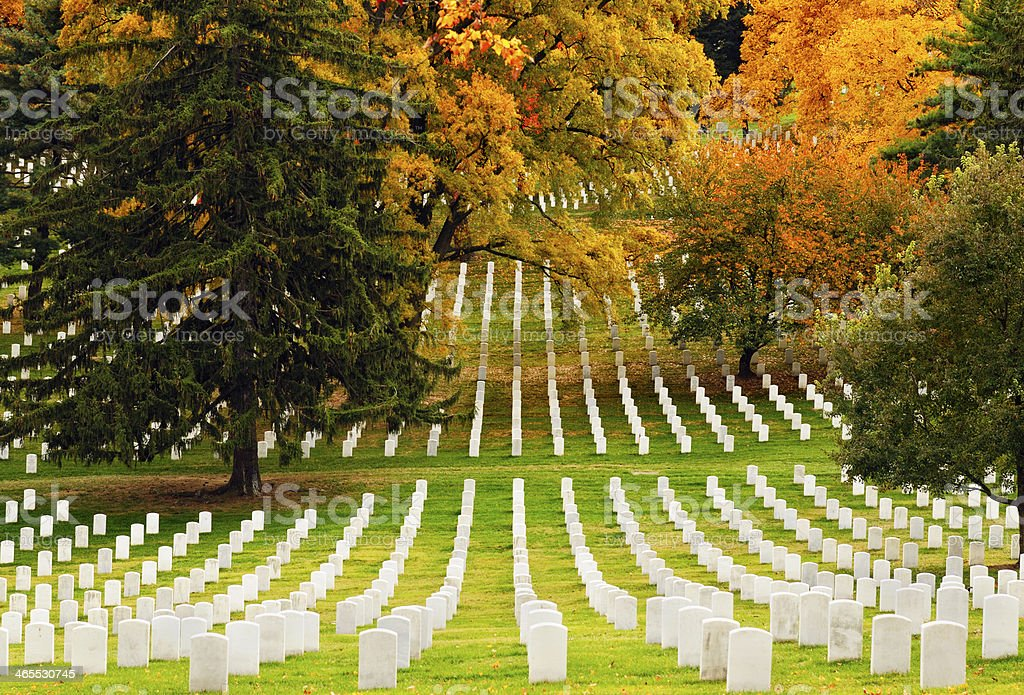 Arlington National Cemetery in Autumn stock photo