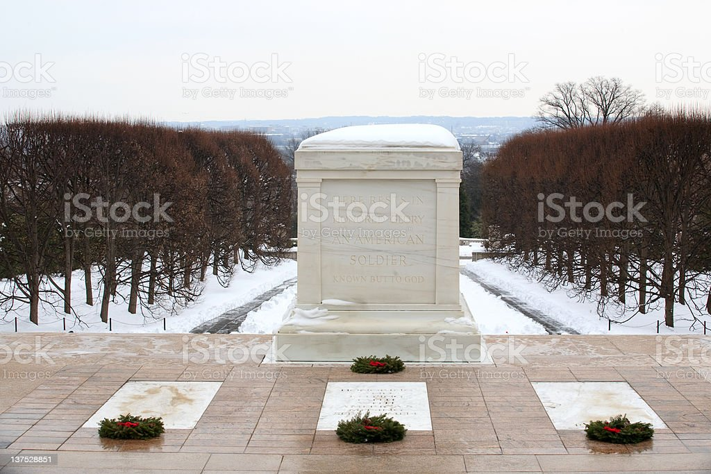 Arlington National Cemetery in December stock photo
