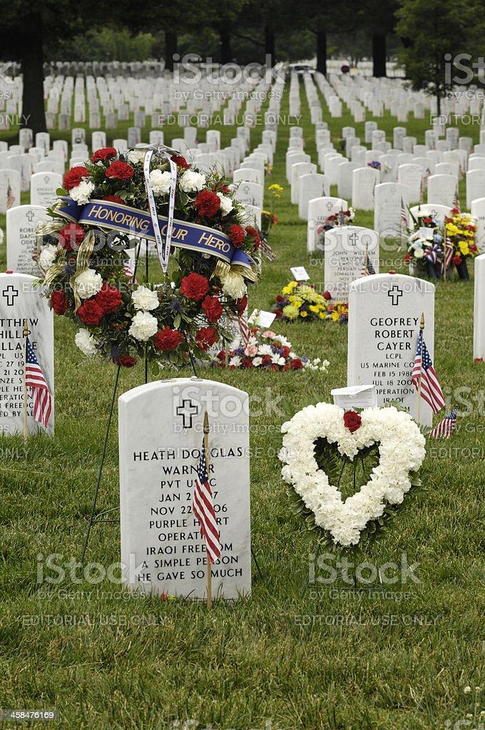 Arlington National Cemetery on Memorial Day royalty-free stock photo
