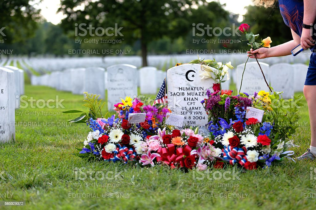 Arlington National Cemetery the grave of Humayun Saqib Muazzam Khan stock photo