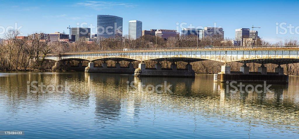 Arlington Virginia Skyline and Theodore Roosevelt Memorial Bridge stock photo