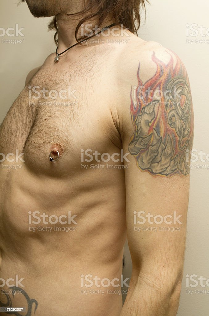 Arm and Chest Close-Up stock photo