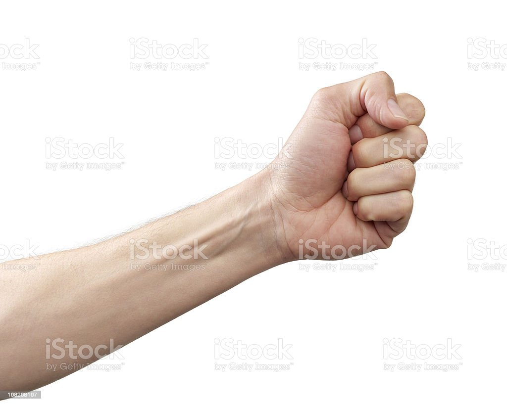 Arm and fist against white background stock photo