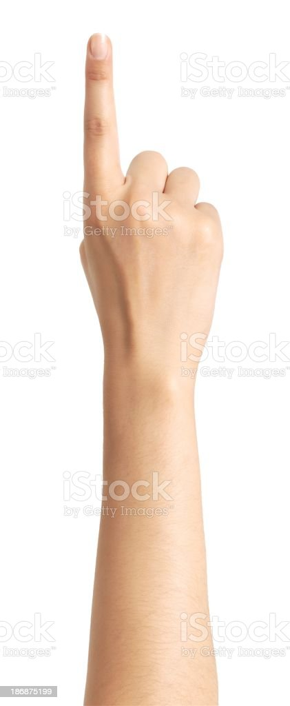 Arm and hand with index finger pointing stock photo