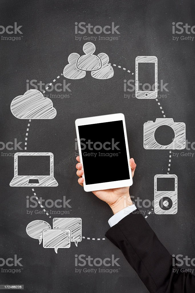 Arm holding a device that can be used for many technologies royalty-free stock photo