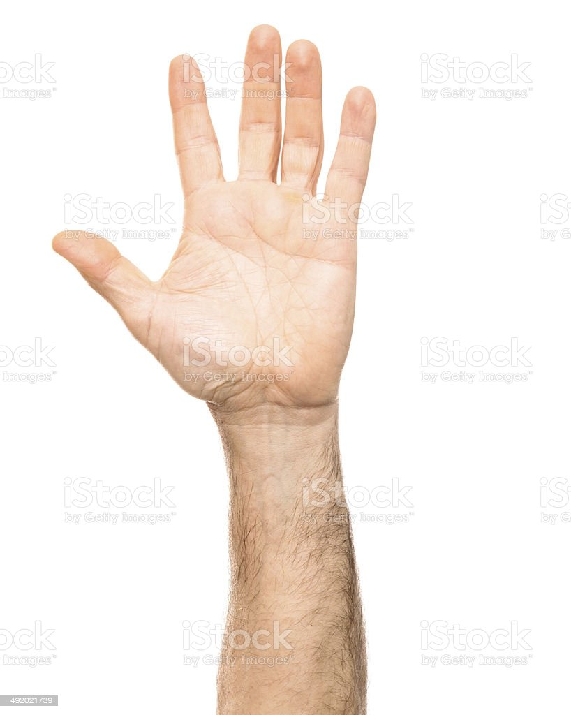 arm raised on white background stock photo