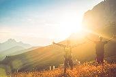 Arm raised to the Dolomites