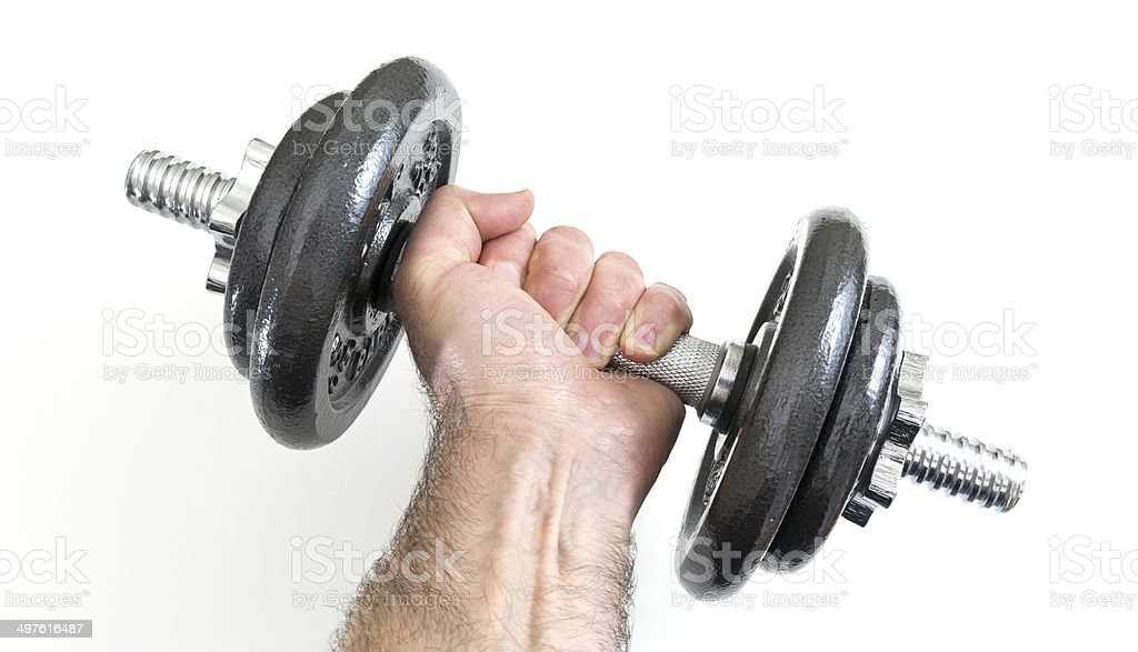 Arm with dumbbells royalty-free stock photo