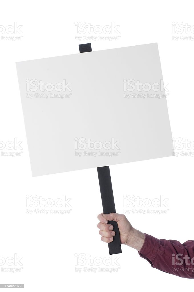 Arm with hand holding Blank white sign-isolated on white stock photo