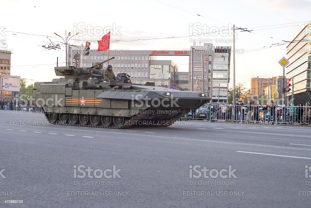 T-15 IFV Armata-based Tracked Heavy Armored Vehicle moves on street stock photo