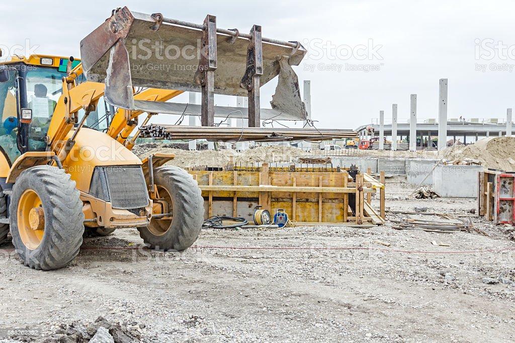 Armature rod delivery at building site. Logistics concept stock photo