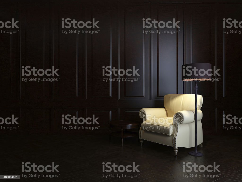 armchair and  floor lamp stock photo