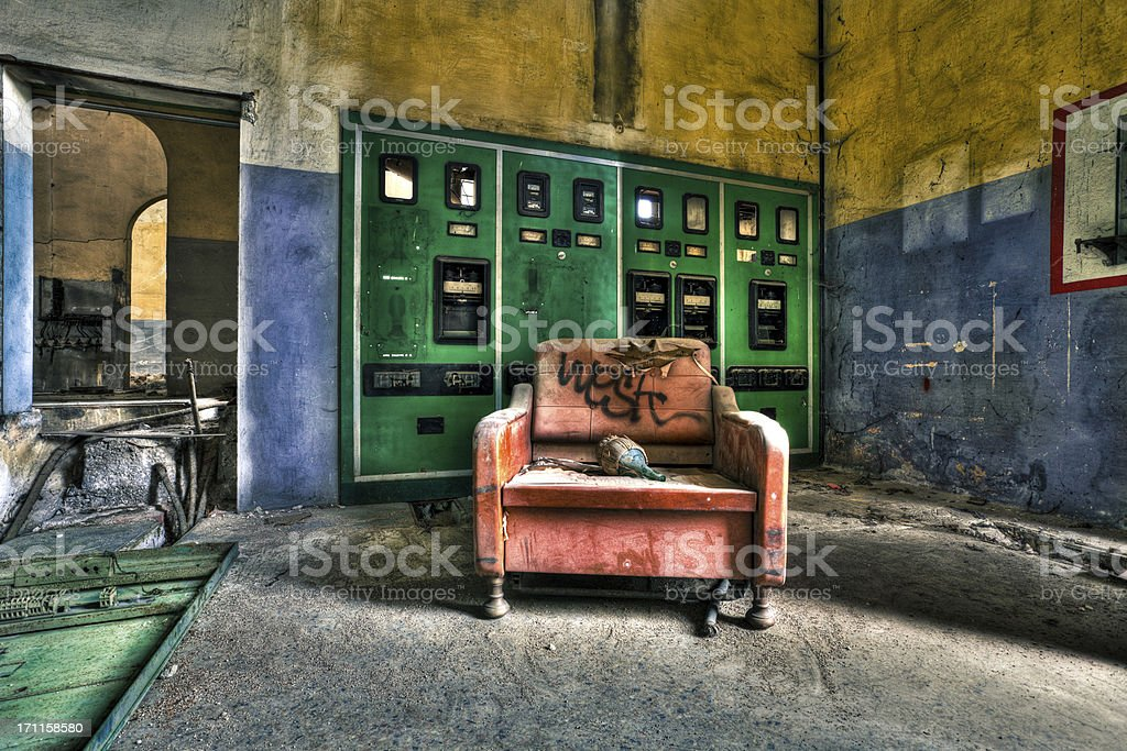Armchair in Abandoned Factory royalty-free stock photo
