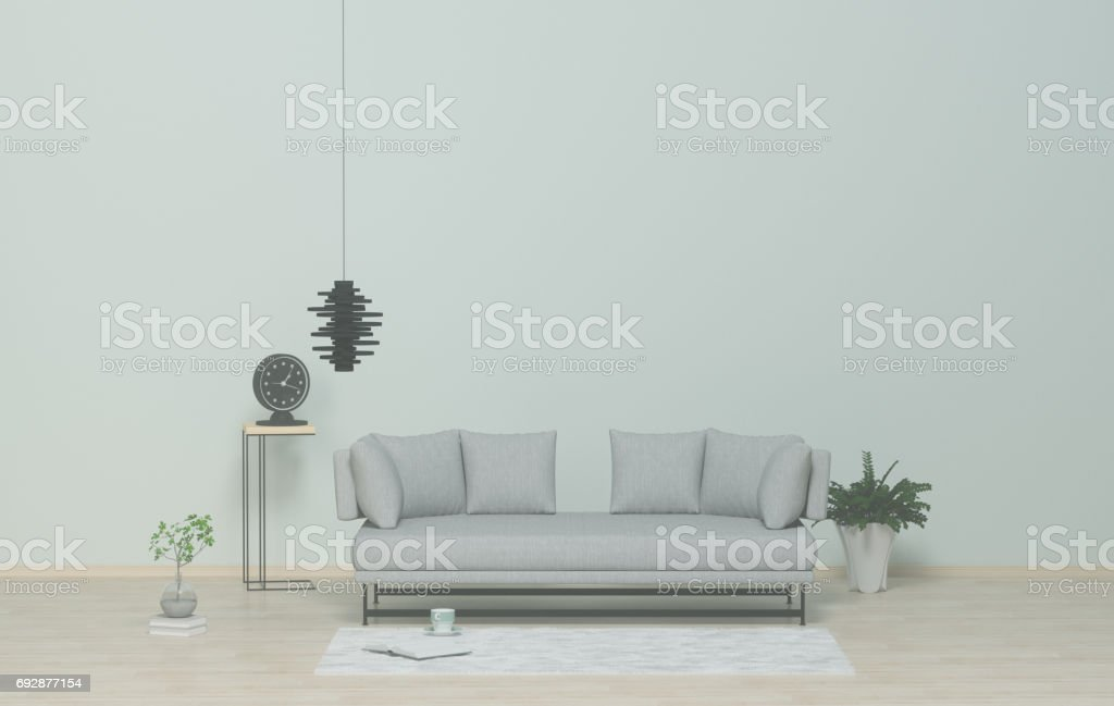 Armchair in living room,Model living room models, clock on the table, ornamental tree on the book, hanging lamp,Living room in the office, 3D rendering stock photo