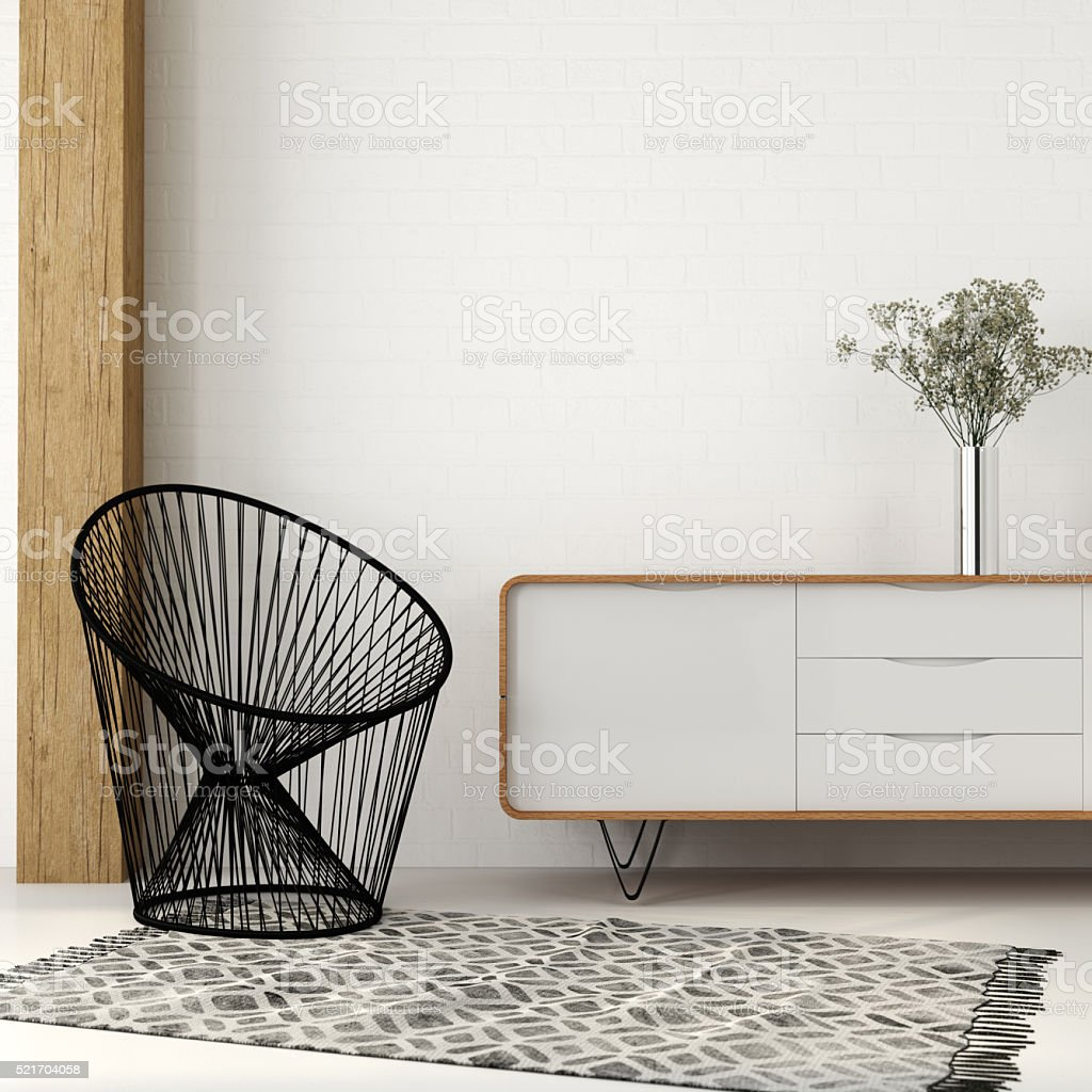 Armchair of black thread in white interior stock photo