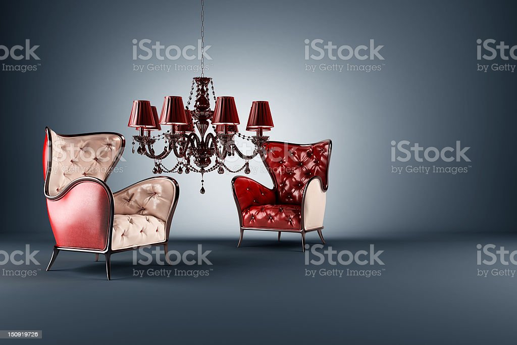 armchair on blue royalty-free stock photo