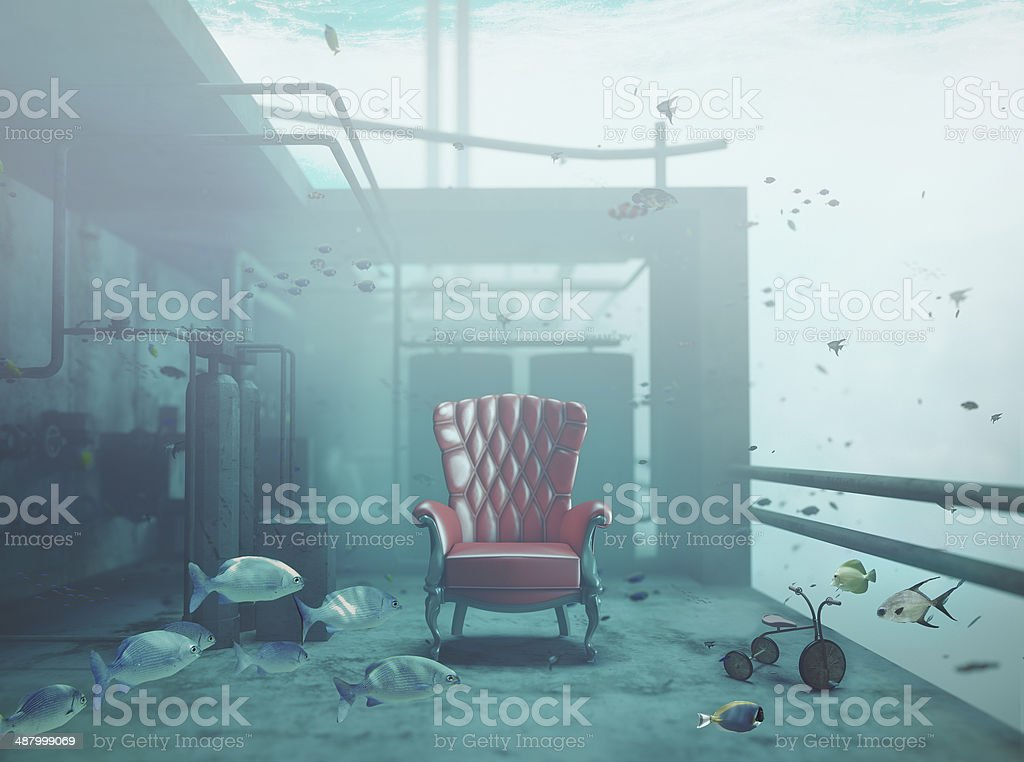 armchair underwater stock photo