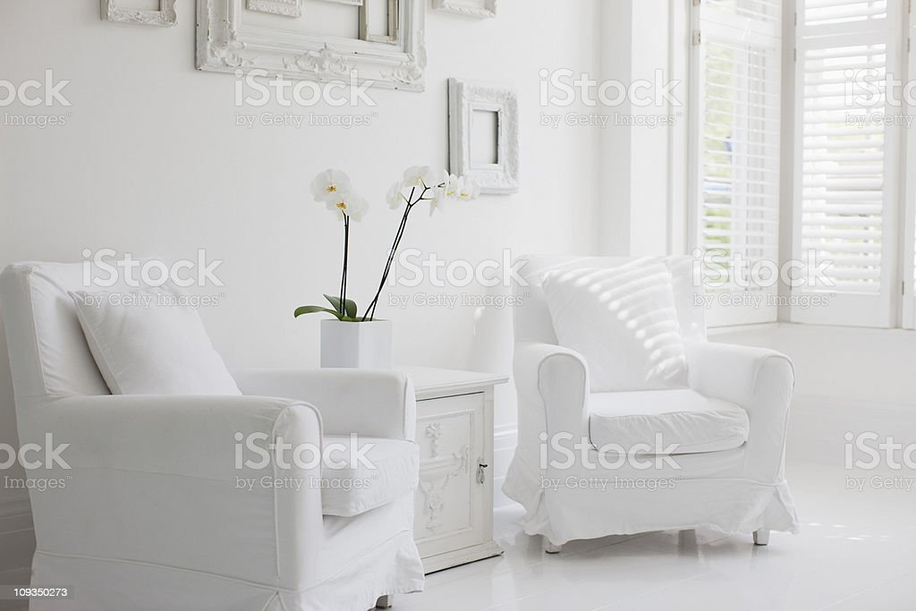 Armchairs in elegant white living room stock photo