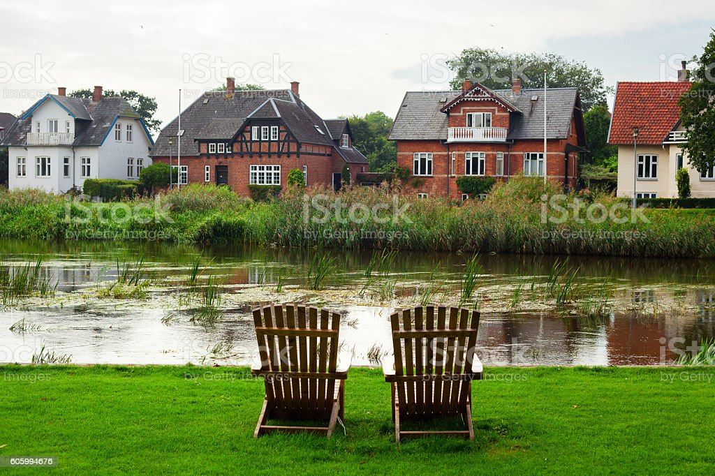 Armchairs on River stock photo