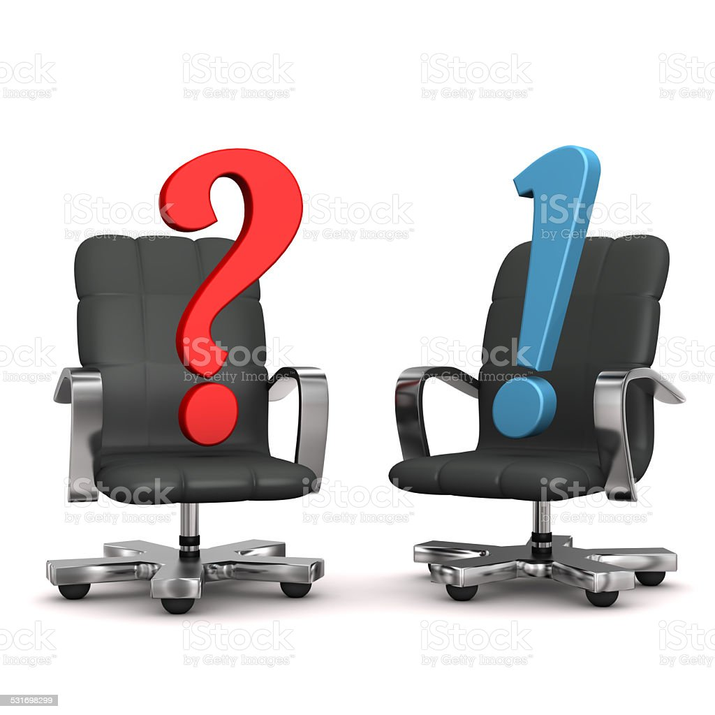 Armchairs Question Answer stock photo