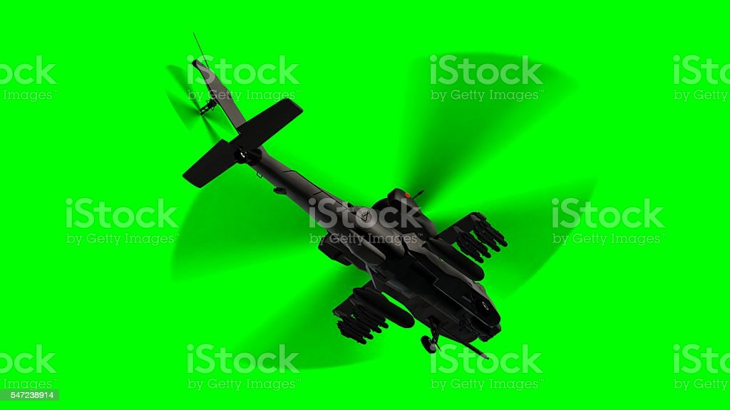 armed army Apache attack helicopter in flight on green screen stock photo