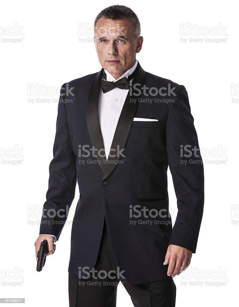 Armed Businessman in Tuxedo stock photo