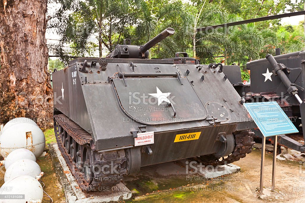 USA M132 armed flamethrower. War Remnants Museum, Ho Chi Minh stock photo