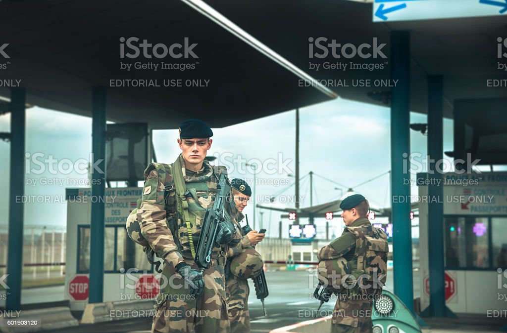 Armed forces at European border with UK stock photo