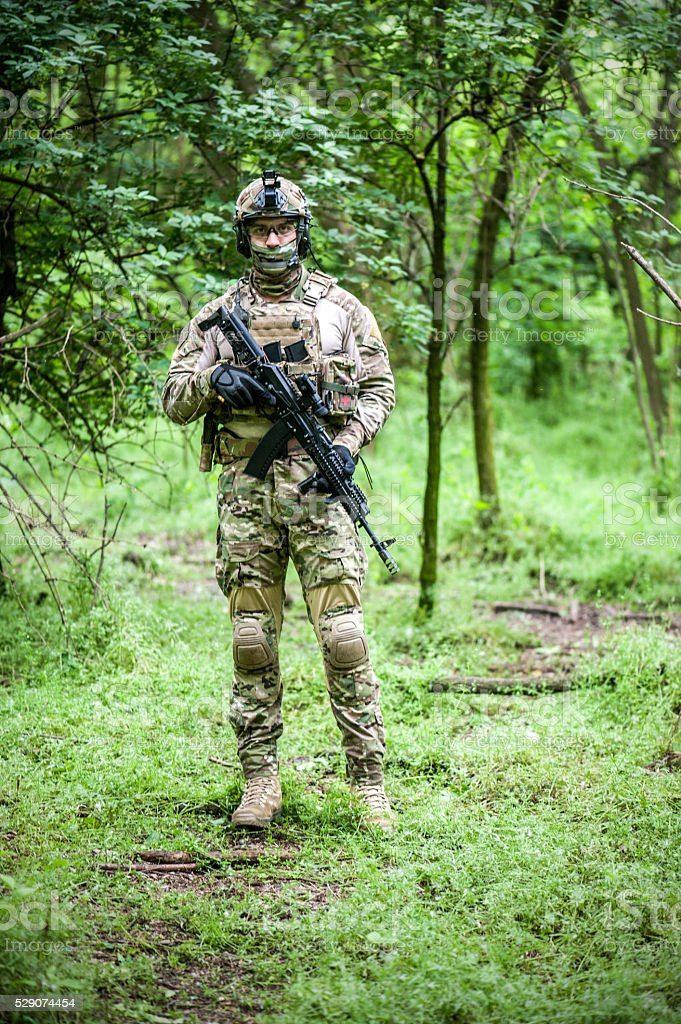 Armed forces in woods stock photo