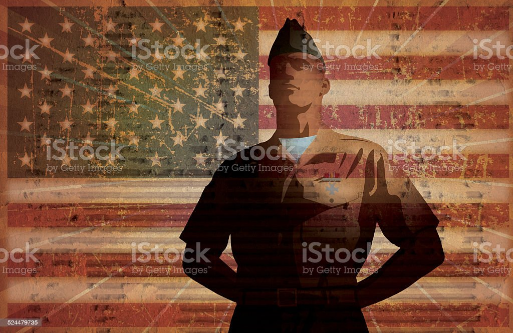 US Armed Forces, Military Soldier, American Flag Background vector art illustration