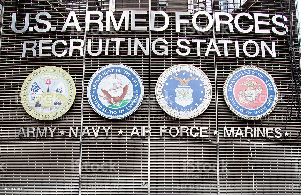 US armed forces recruiting station on Times Square stock photo