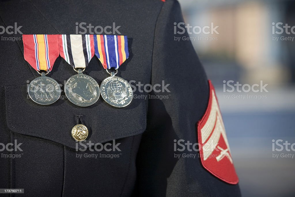 Armed Forces Uniform Close Up with Medals and Badges, Copyspace stock photo