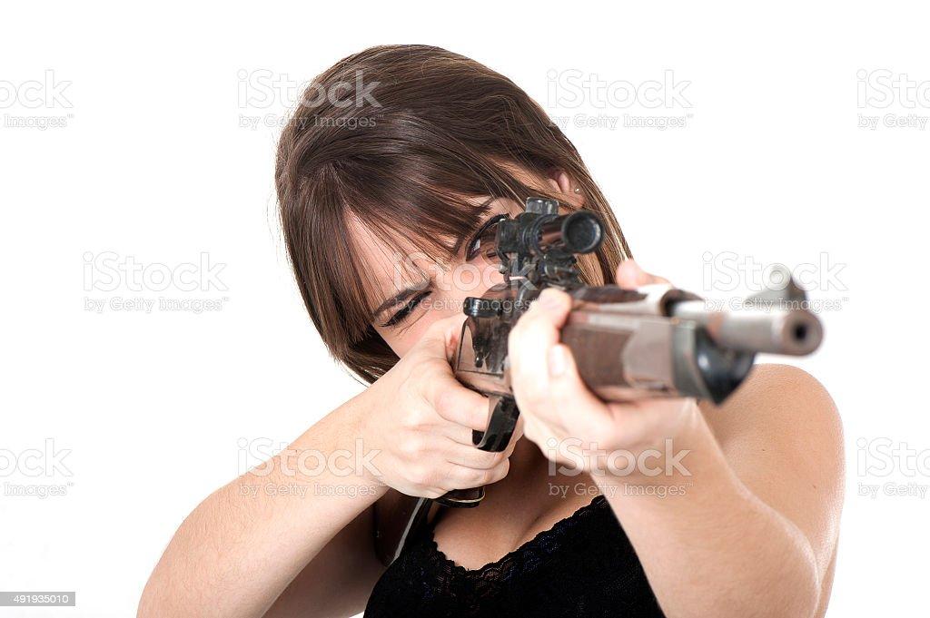 Armed Girl stock photo