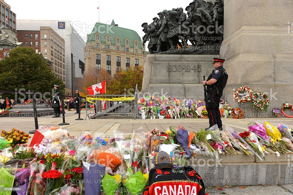 Armed guard at Ottawa Cenotaph stock photo