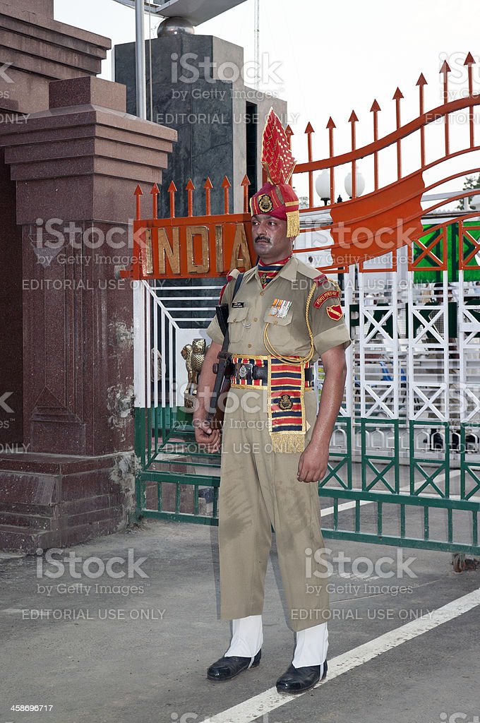 Armed Indian Officer with Red Turban Pakistani Border royalty-free stock photo