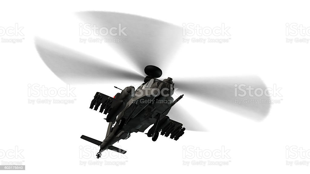armed longbow apache helicopter in flight isolated on white stock photo