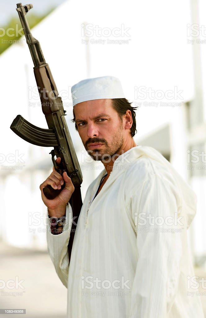 Armed Middle Eatern Man stock photo