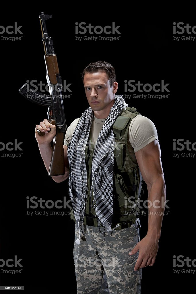 Armed Military Male stock photo