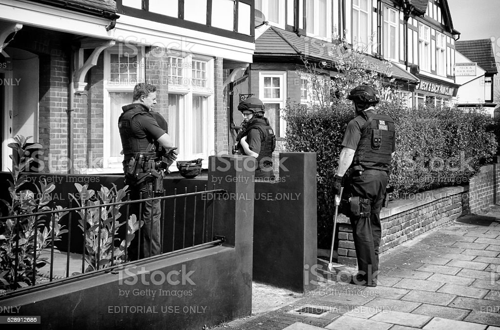Armed police at an incident stock photo